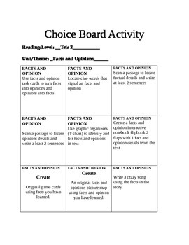 Facts and Opinion choice board