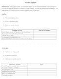 Facts and Opinions: Guided Notes ADVANCED Plus Answers