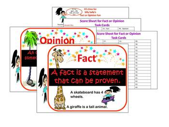 Facts and Opinions Task Cards & Activity With your host Silly Sally