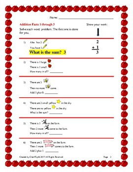 Facts and Word Problems 1 through 10