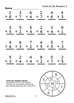 Addition Facts To  Facts To  Worksheets  Full Color Addition Game