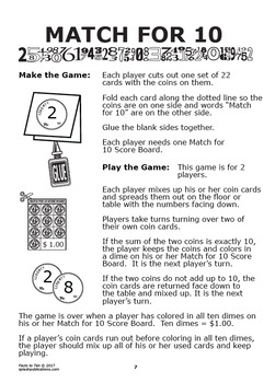 Addition Facts to 10 (Facts to 10 Worksheets + Full Color Addition Game)
