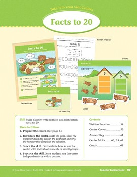 Facts to 20 (Take It to Your Seat Centers Common Core Math)