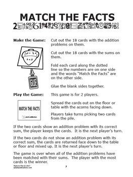 Addition Worksheets (Facts to 5 + Full Color Game)
