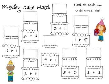 Facts to 5 Birthday Cake Match K.OA.5- Freebie