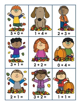 Facts to 5 Fall Matching Game K.OA.5- Freebie