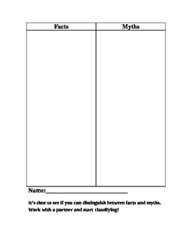 Facts vs. Myths Graphic Organizer