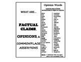 Factual Claim, Opinion, Commonplace Assertion NEW