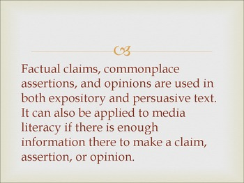 Factual Claims, Commonplace Assertions, and Opinions