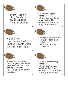 Football Fun! Listening Comprehension, WH questions