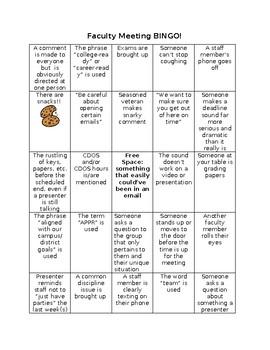 Faculty Meeting Bingo