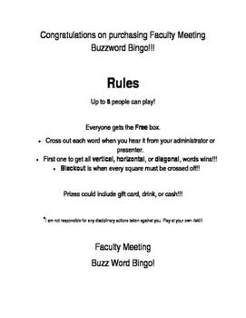 Faculty Meeting Buzzword Bingo