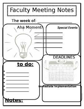 Faculty Meeting Notes Sheet