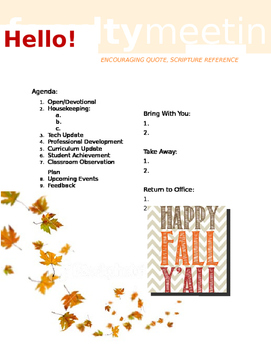 Faculty Meeting Notes Template - Fall