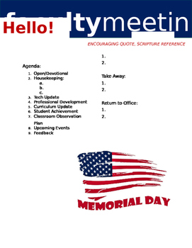 Faculty Meeting Notes Template - Memorial Day