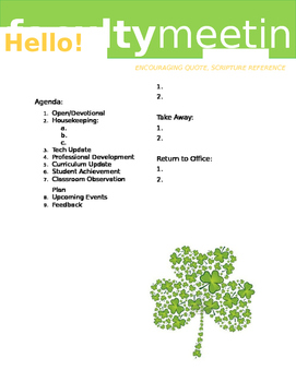 Faculty Meeting Notes Template - St. Patty's Day