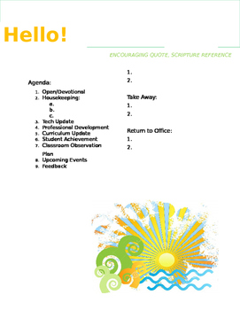 Faculty Meeting Notes Template - Summer