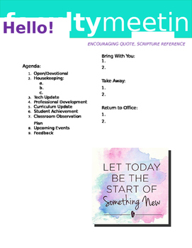 Faculty Meeting Notes Template - Winter/New Year