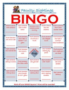 Faculty Sightings Get-To-Know-You BINGO