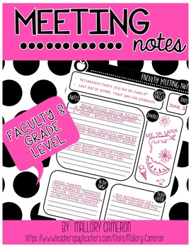 Faculty and Grade Level Meeting Notes - Freebie!