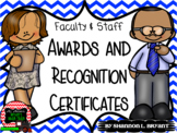 Faculty and Staff Awards and End of the Year Certificates