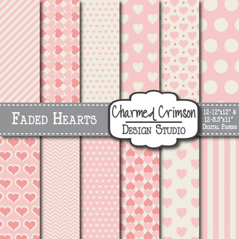 Faded Hearts Pink and Cream Digital Paper 1051