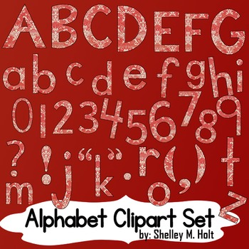 Faded Red Alphabet Clipart Set by Shelley M Holt