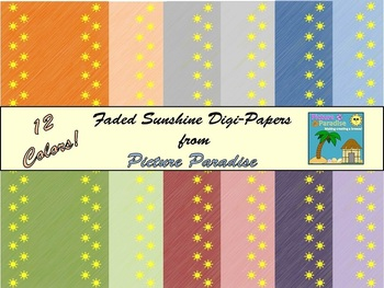Faded Sunshine Digi-Papers for Commercial and Personal Use