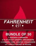 Fahrenheit 451: 7 Quizzes / Plot Study / 5 Common Core Wkst / Lit Circle Packet