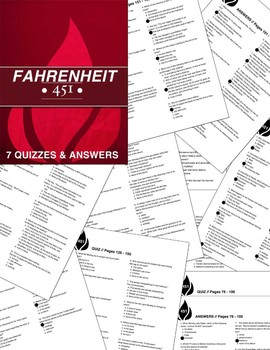 Fahrenheit 451: 7 Quizzes / Plot Study / 5 Common Core Wkst / Lit Circle Packet