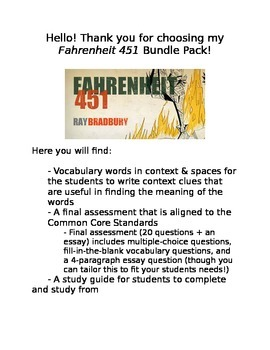 Fahrenheit 451 Assessment Bundle Pack
