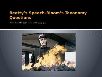 Fahrenheit 451 Bloom's Taxonomy Questions