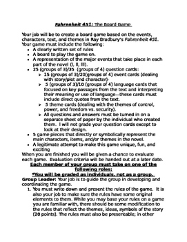Fahrenheit 451 Board Game and Assessment w/Template