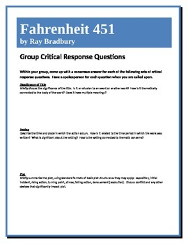 Fahrenheit 451 - Bradbury - Group Critical Response Questions