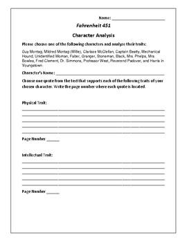 Fahrenheit 451 Character Analysis Activity - Ray Bradbury