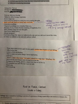 Fahrenheit 451 - Character Eulogy WITH RUBRIC - Clarisse McClellan