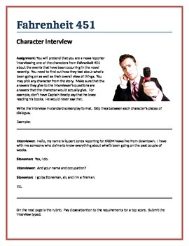 Fahrenheit 451 - Character Interview writing assignment