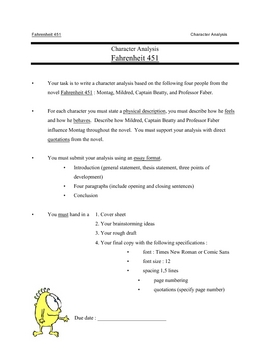 Fahrenheit 451 Character analysis