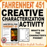 FAHRENHEIT 451 CHARACTER'S CELL PHONE ACTIVITY Fun, Effective, Relevant