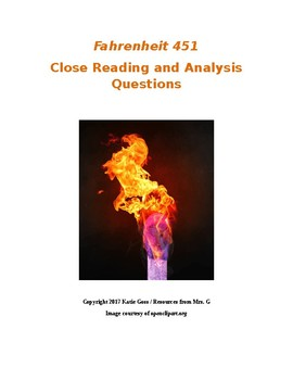 Fahrenheit 451 Close Reading / Analysis Text-dependent Questions Bundle