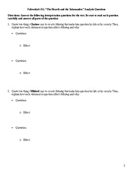 Fahrenheit 451 Close Reading / Analysis Text-dependent Questions Bundle