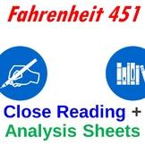 Fahrenheit 451 Close Reading + Analysis Sheets