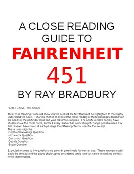 Fahrenheit 451: Close Reading and Guided Questions