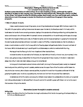 Fahrenheit 451 Desscription Worksheet