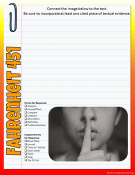 Fahrenheit 451 Digital Interactive Notebook for Google Drive