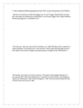 Fahrenheit 451 Discussion Preparation