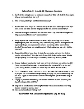 Fahrenheit 451 Discussion Questions