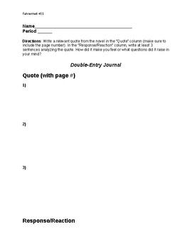 Fahrenheit 451- Double Entry Journal