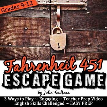 Fahrenheit 451 Escape Game Break Out Box Activity