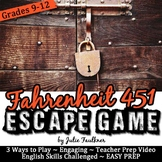 Escape Game Break Out Lock Box Activity, Fahrenheit 451